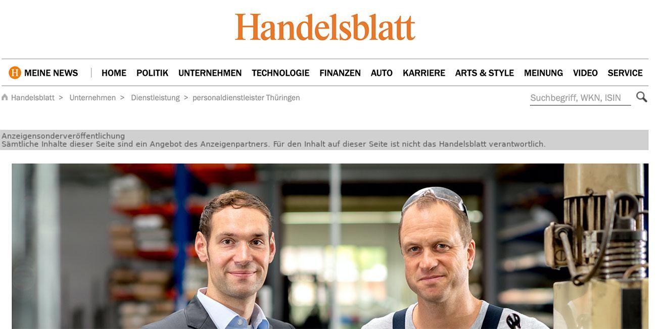 Handelsblatt Personaldienstleister Thüringen